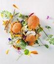 Flores comestibles en una receta